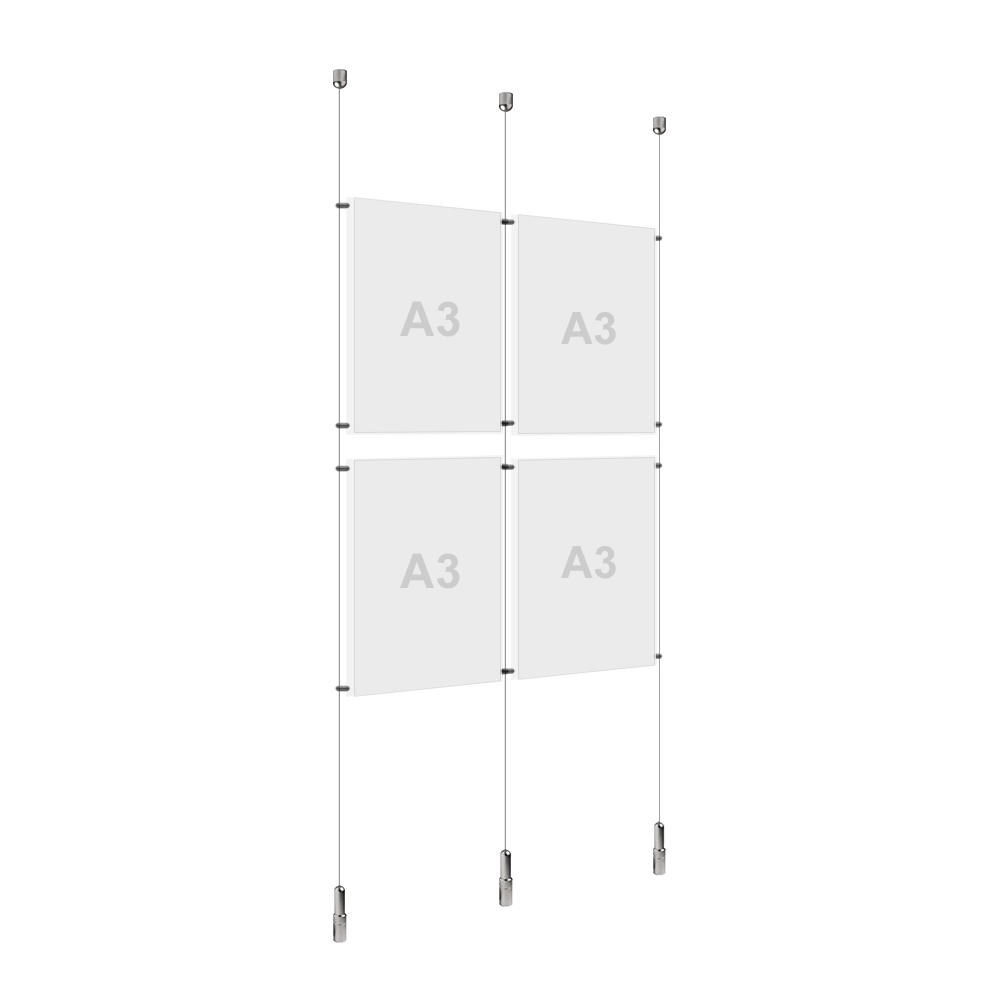 2x A3 (2x) Poster Holder, Cable Display Kit (Ready to Use)