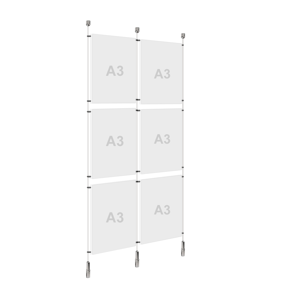 2x A3 (3x) Poster Holder, Cable Display Kit (Ready to Use)
