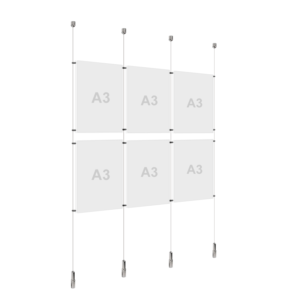 3x A3 (2x) Poster Holder, Cable Display Kit (Ready to Use)
