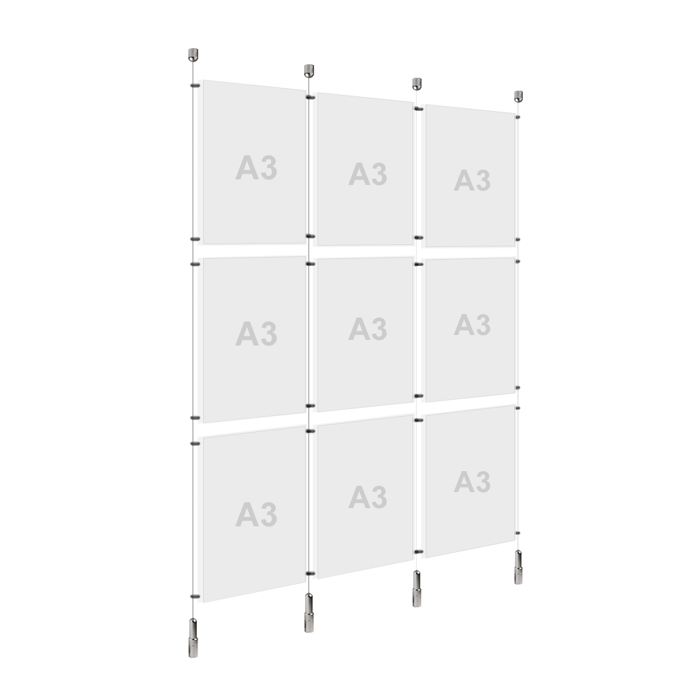 3x A3 (3x) Poster Holder, Cable Display Kit (Ready to Use)