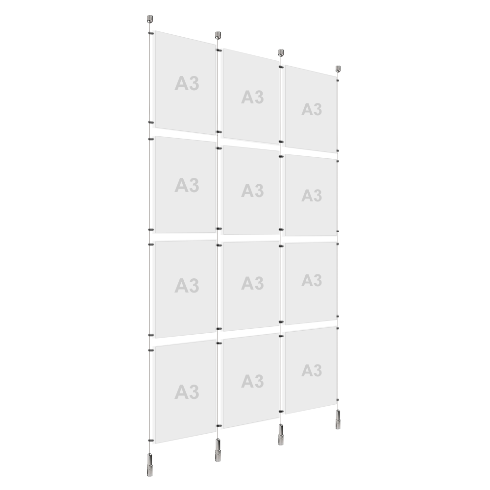 3x A3 (4x) Poster Holder, Cable Display Kit (Ready to Use)