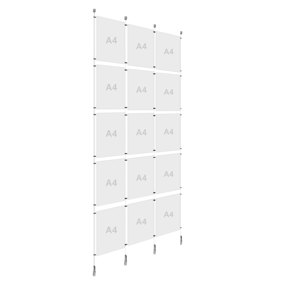 3x A4 (5x) Poster Holder, Cable Display Kit (Ready to Use)