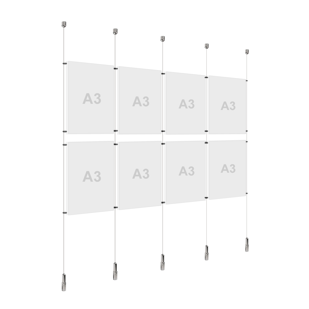 4x A3 (2x) Poster Holder, Cable Display Kit (Ready to Use)