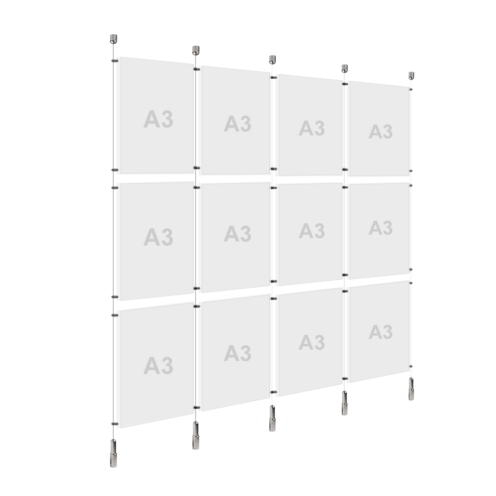 4x A3 (3x) Poster Holder, Cable Display Kit (Ready to Use)