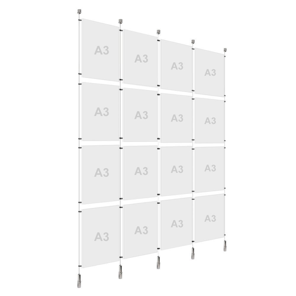 4x A3 (4x) Poster Holder, Cable Display Kit (Ready to Use)