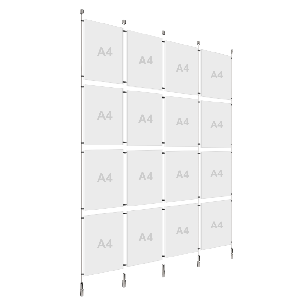 4x A4 (4x) Poster Holder, Cable Display Kit (Ready to Use)