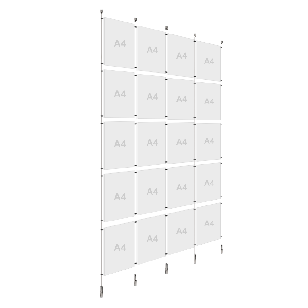 4x A4 (5x) Poster Holder, Cable Display Kit (Ready to Use)