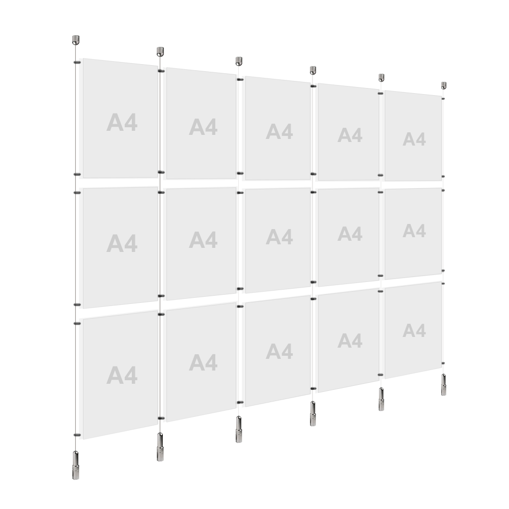 5x A4 (3x) Poster Holder, Cable Display Kit (Ready to Use)