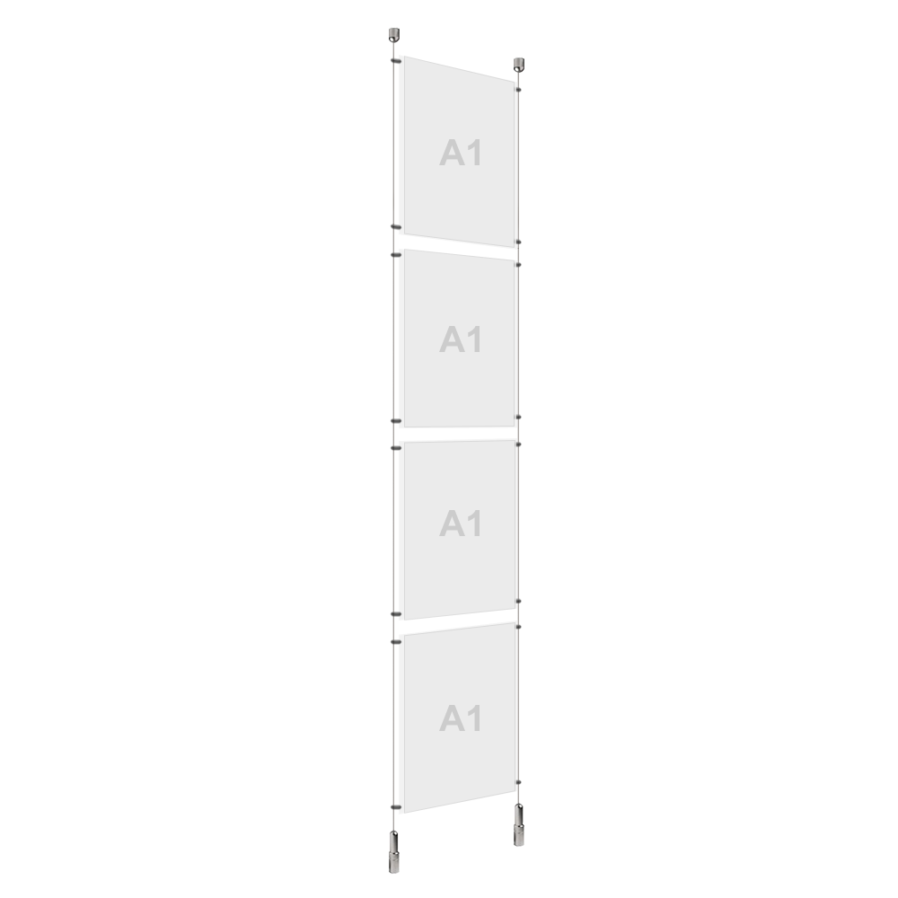 A1 (4x) Poster Holder, Cable Display Kit (Ready to Use)