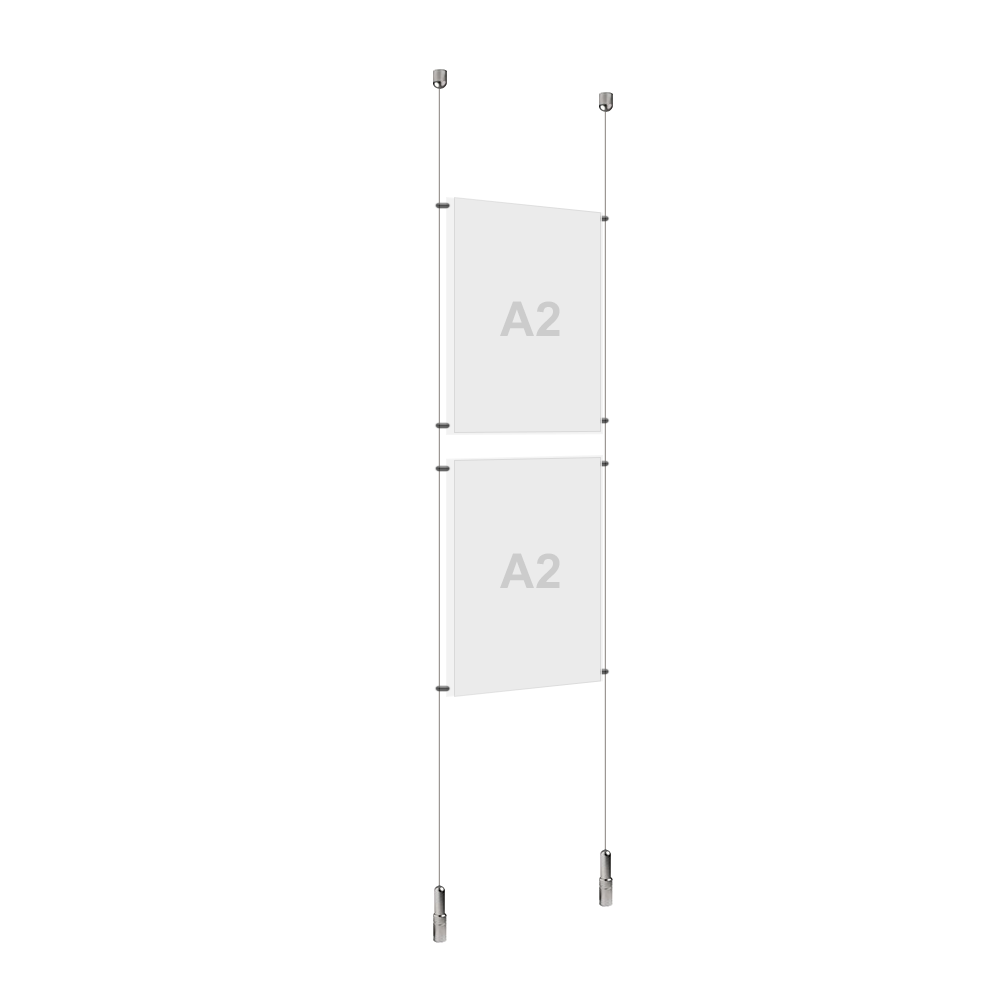 A2 (2x) Poster Holder, Cable Display Kit (Ready to Use)