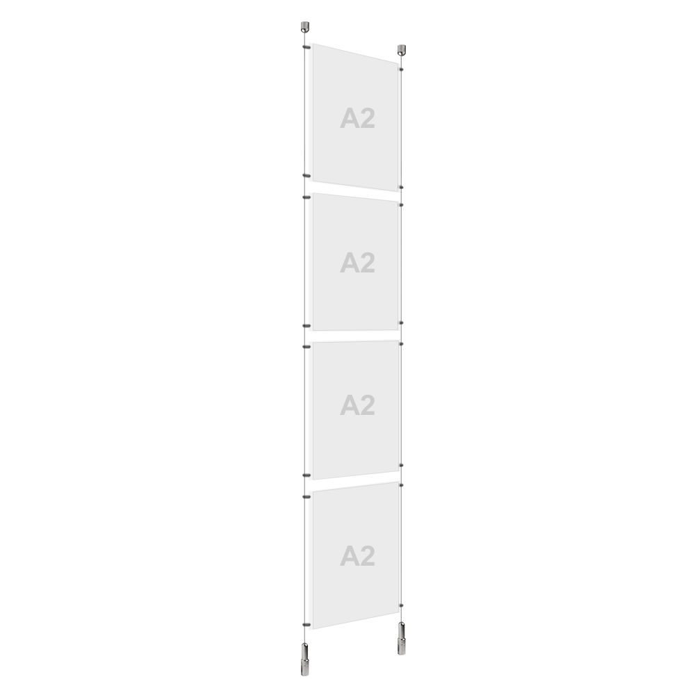 A2 (4x) Poster Holder, Cable Display Kit (Ready to Use)