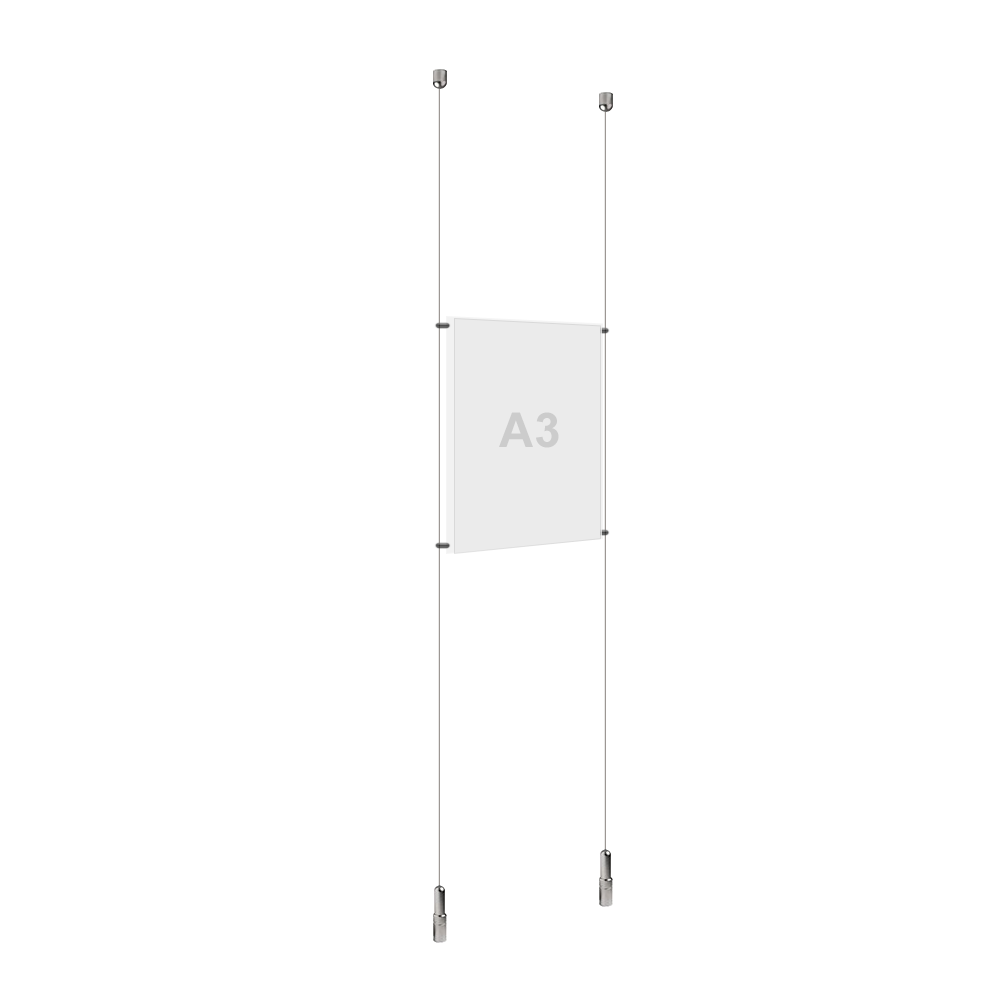 A3 (1x) Poster Holder, Cable Display Kit (Ready to Use)