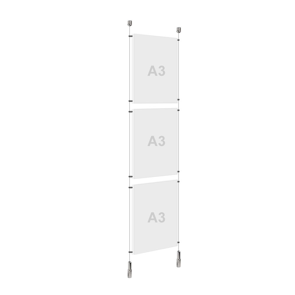 A3 (3x) Poster Holder, Cable Display Kit (Ready to Use)