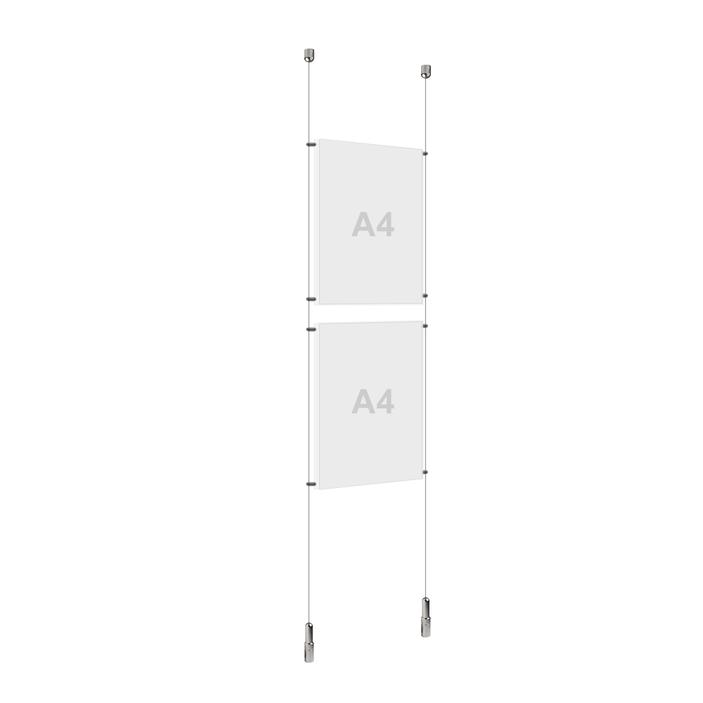 A4 (2x) Poster Holder, Cable Display Kit  (Ready to Use)