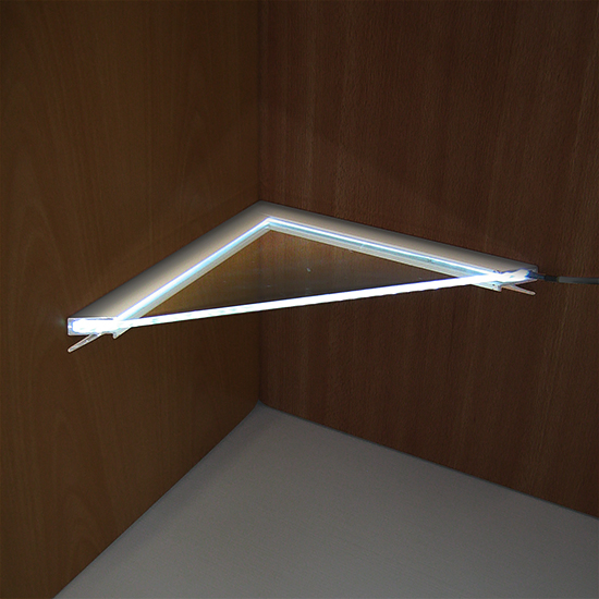 New* Glass Corner 'Light' Shelf, Flat-edge