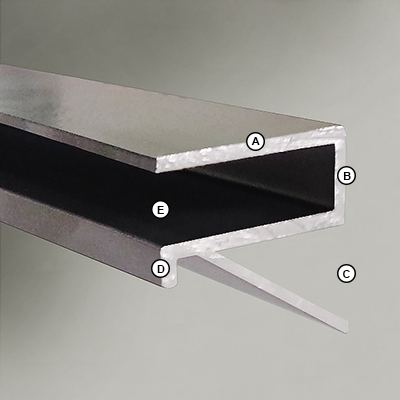 Glass 30x150cm Shelf 8mm 'All Surface Light Bracket' Dimensions