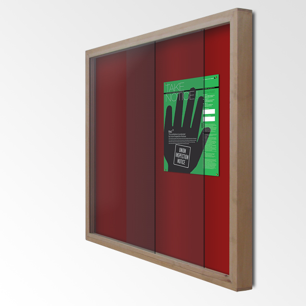 Display Cabinet Noticeboard, With Lockable Sliding Doors