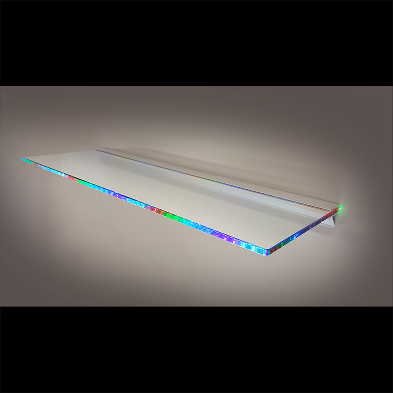 Glass 'Multi-Colour Light' Shelf - 15x30cm