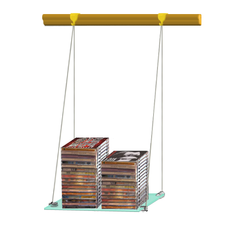 (Wood Rail) Hanging glass shelf 30 x 60 (x1)