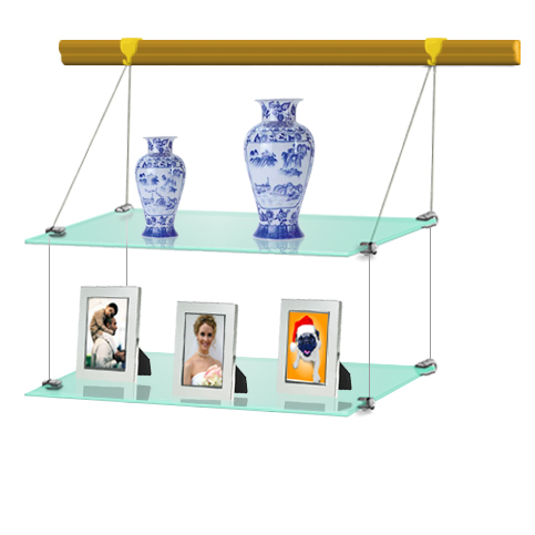 (Wood Rail) Hanging glass shelf 30 x 60 (x2)