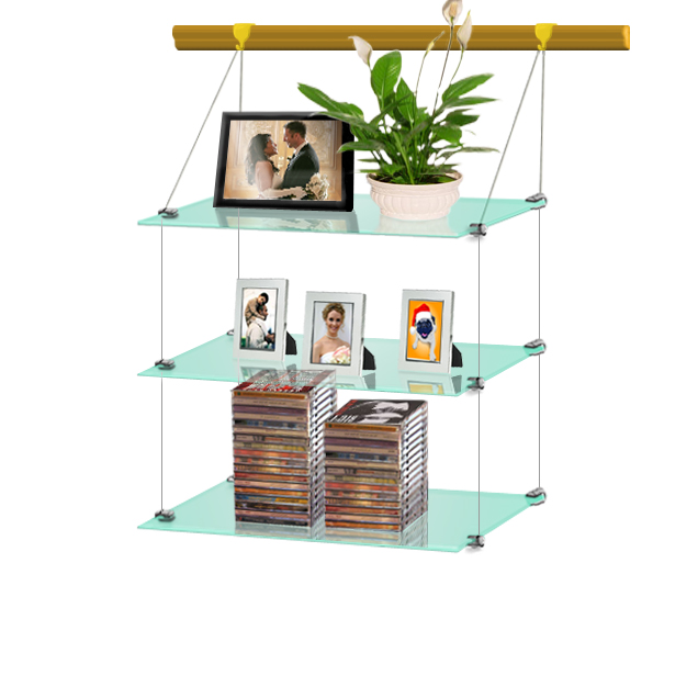 (Wood Rail) Hanging glass shelf 30 x 60 (x3)