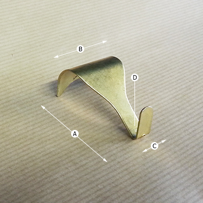 Moulding Hook with Hole, Dimensions