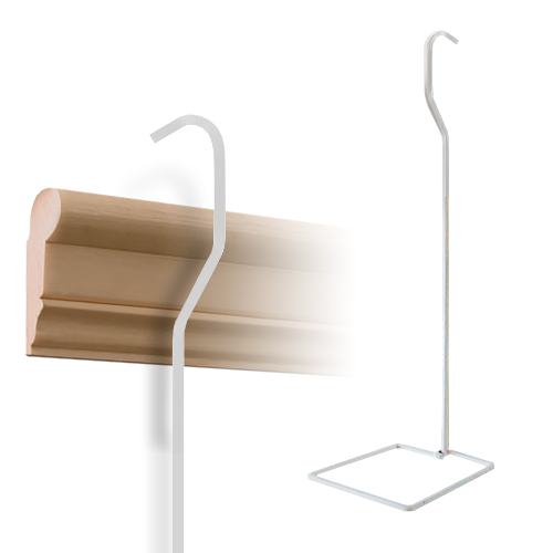 Flower Rod Hanger for Wood Rail 1m, white