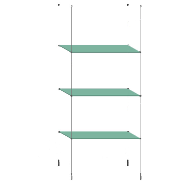 Suspended Ceiling to Floor Glass Shelf Unit