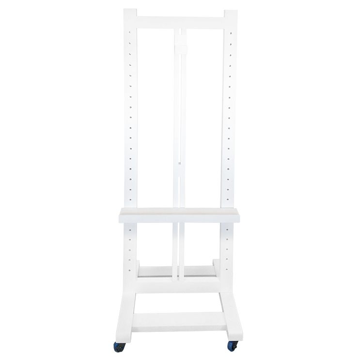 Upright Easel 180cm +Castors, Light Wood, White, Black, Silver