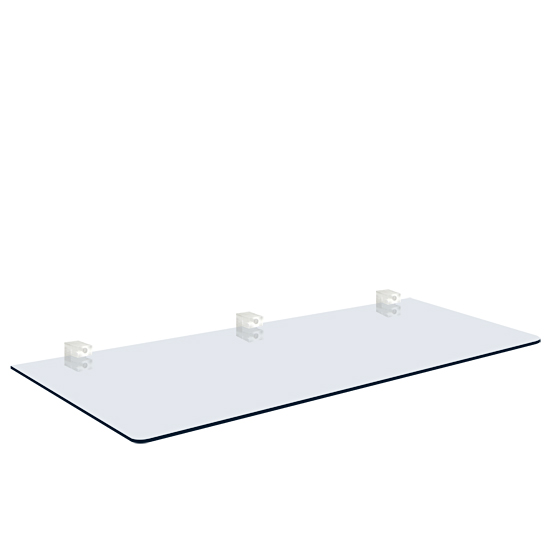Glass Shelf, 20x60 cm (With 3 TRANSPARENT supports)