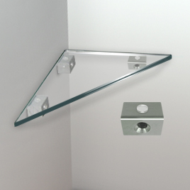 Glass Corner Shelf, 6mm Flat-edge - Removable Shelf