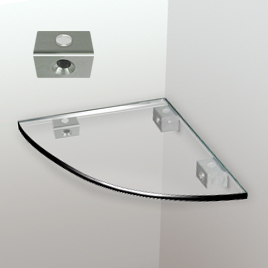 Glass Corner Shelf, 6mm Round-edge - Removable Shelf