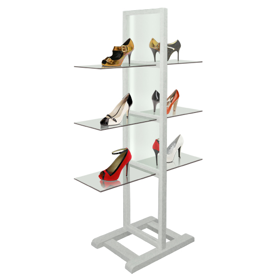 Free Standing Shelf, Wood/White - 60cm Glass (x3)