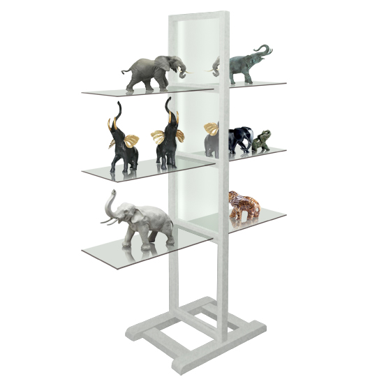 Free Standing Shelf, Wood/White - 120cm Glass (x3)