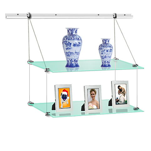 (J-rail) Hanging glass shelf 15 x 60 (x2)