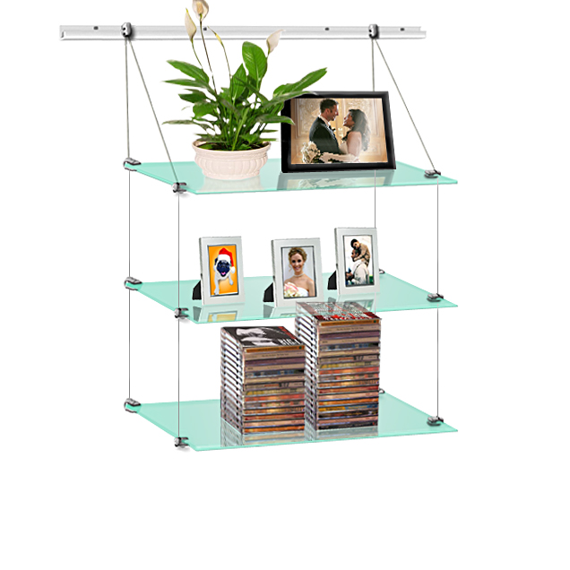 (J-rail) Hanging glass shelf 20 x 60 (x3)