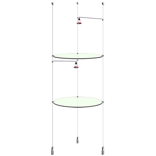 Suspended Round Glass Shelf with lights