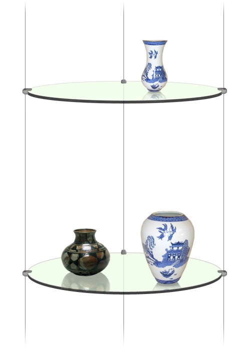 NEW Suspended Round Glass Shelf Unit